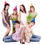 Group of teenager in party hat. Isolated Royalty Free Stock Photography