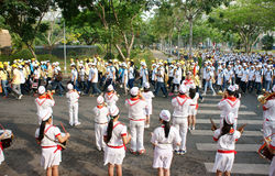 Group of teenager playing musical instruments. HO CHI MINH, VIET NAM- APRIL 6: Group of teenager playing musical instruments as drum, clarinet, with white Royalty Free Stock Image