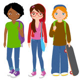 Group of teenager students. Vector Illustration of two boys and a girl teenage students holding school bags, backpacks and skateboard Stock Photography