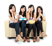 Group of teenager watching romantic Movie Stock Images