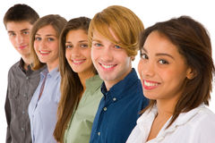 Group of teenagers. On white background Stock Images
