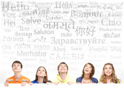 Group of teenagers with a blank, white billboard Stock Photography