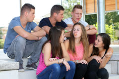 Group of teenagers bubble gum Royalty Free Stock Photo