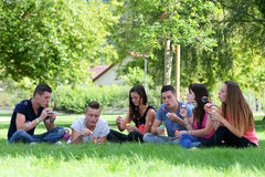 Group of teenagers bubble Royalty Free Stock Photography