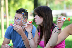 Group of teenagers bubble Stock Image
