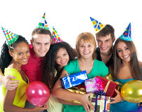 Group of teenagers celebrate birthday. Isolated Stock Photos