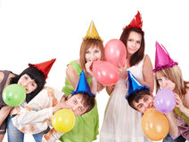 Group of teenagers celebrate birthday. Royalty Free Stock Photography