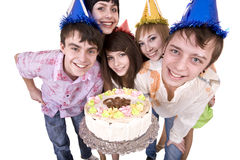 Group of teenagers celebrate happy birthday. Stock Photography
