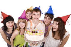 Group of teenagers celebrate happy  birthday. Royalty Free Stock Images