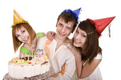 Group of teenagers celebrate happy birthday. Stock Image