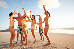 Group of teenagers dancing on the sea shore Stock Photography