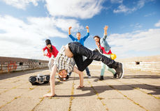 Group of teenagers dancing Stock Photo