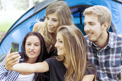 Group of teenagers are doing selfie Stock Photos