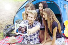 Group of teenagers are doing selfie Royalty Free Stock Photos