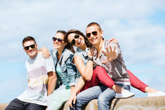 Group of teenagers hanging out Stock Photo