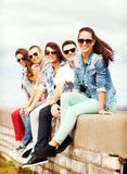 Group of teenagers hanging out Royalty Free Stock Images
