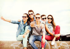 Group of teenagers hanging out Royalty Free Stock Image