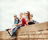 Group of teenagers hanging outside Stock Image