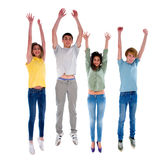 Group of teenagers jumping. Isolated on white background Royalty Free Stock Image