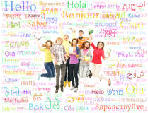 A group of teenagers jumping together Royalty Free Stock Images
