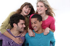 Group of teenagers laughing Royalty Free Stock Image