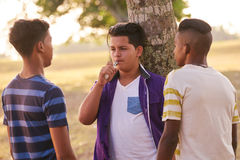 Group of Teenagers In Park Boy Smoking Electronic Cigarette Stock Photos