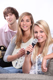Group of teenagers playing music Stock Image