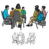 Group of teenagers sitting in a circle during consultation with stock illustration