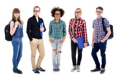 Group of teenagers or students standing isolated on white Stock Photos