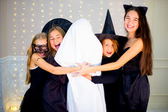 Group of teenagers wearing Halloween costumes Royalty Free Stock Image