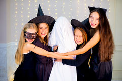 Group of teenagers wearing Halloween costumes Royalty Free Stock Images