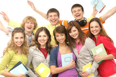 A group of teenages celebrating the holidays Royalty Free Stock Photography