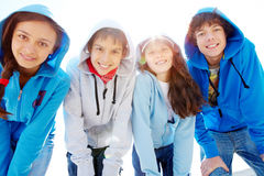 Group of teens. Portrait of several teens standing in row and looking at camera Royalty Free Stock Photos