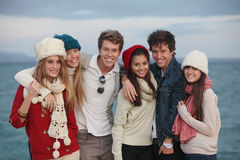 Group teens. Happy group of winter autumn teens Stock Images