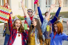Teens having a party. Group of teens are having a birthday party Royalty Free Stock Photography