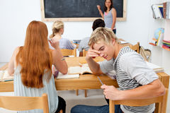 Group of teens studying together Stock Photo