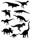 Group of ten dinosaurs isolated. Group of five dinosaurs isolated vector drawings stock illustration