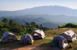 Group of tent, Camping at mountain Stock Photography