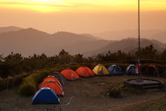 Group of tents in mountain . Royalty Free Stock Photo