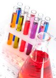 Group of test tubes and flask Stock Photo