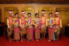 A group of Thai dancers perform Thai dance on the traditional candle procession festival of Buddha. Stock Image