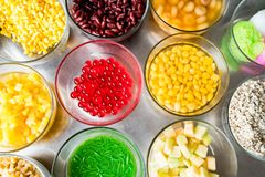 Group of thai dessert. Some toppings of thai desserts in thailand Royalty Free Stock Photography