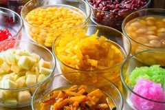Group of thai dessert. Some toppings of thai desserts in thailand Stock Photo