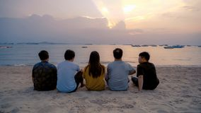 Group of Thai people, Asian friends, clanging bottles of beer together and celebrating on holiday in party at the beach or sea in. Summer at sunset time stock images