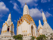 Group of Thai style white pagodas in the church. Royalty Free Stock Photo