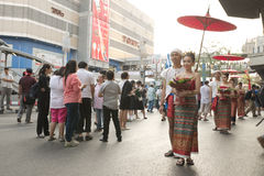Group of Thai traditional dressed couple at Pathumwan intersection Royalty Free Stock Images