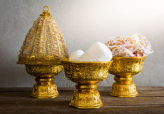 Group of Thailand Gold tray with pedestal Royalty Free Stock Images