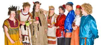 Group of theater characters. A group of theater characters in costumes Stock Images