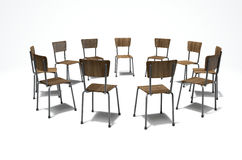 Group Therapy Chairs. A group of chairs in a circular formation symbolizing a group therapy in session on an isolated white studio background Stock Photography