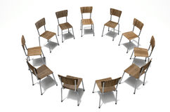 Group Therapy Chairs. A group of chairs in a circular formation symbolizing a group therapy in session on an isolated white studio background Stock Images